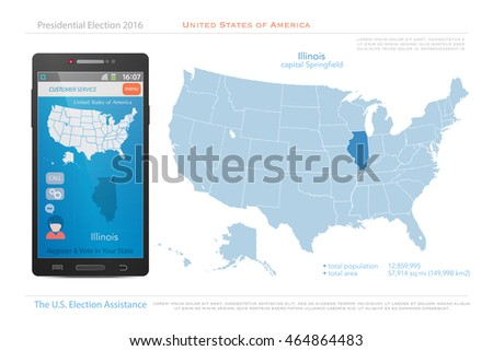 United States America Maps Illinois State Stock Vector (Royalty Free ...