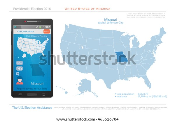 United States America Maps Missouri State Stock Vector ... on blank us map, grand canyon us map, view us map, painted desert us map, colorado river us map, list us map, editable us map, santa fe us map,