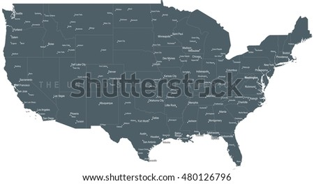 Large Map Of United States.United States America Monochrome Map Detailed Stock Vector Royalty
