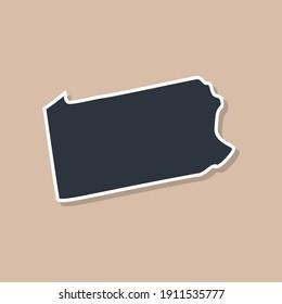 United States of America, Pennsylvania state borders, Pennsylvania border map. Political borders of the USA Pennsylvania state.