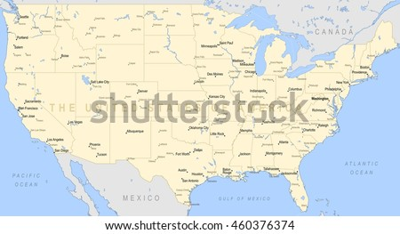 Map Of America Political.United States America Political Map Detailed Stock Vector Royalty