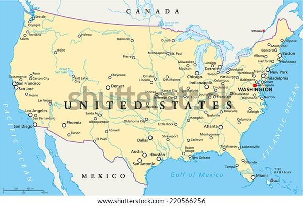 Political Map Of America States.United States America Political Map Capital Stock Vector