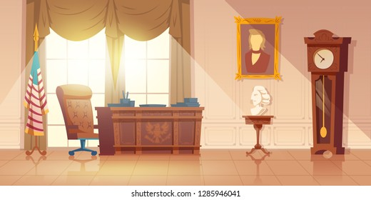 United States of America President workplace, oval office in white house interior cartoon vector with vintage wooden furniture, predecessors statue bust and paintings, US national flag illustration