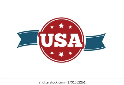 United States of America quality stamp. Composition with American flag colors and stars for badge, label, pin, etc.  Vector label Illustration.