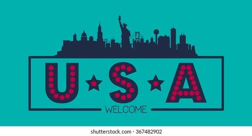 United States of America skyline silhouette poster vector design illustration