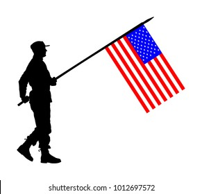 United States of America soldier with flag vector silhouette. Ceremonial day of independence. Memorial army saluting, national veteran day. Battle for freedom ceremony. Military walk for USA liberty.