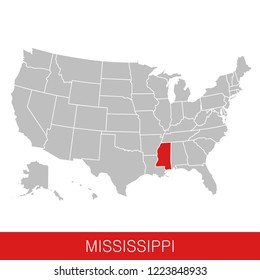 United States of America with the State of Mississippi selected. Map of the USA vector illustration