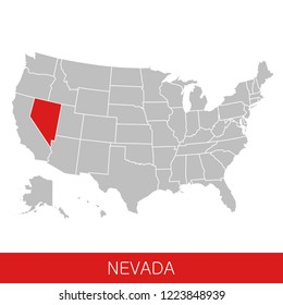 United States of America with the State of Nevada selected. Map of the USA vector illustration