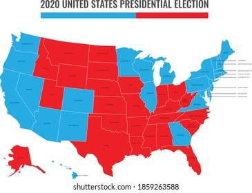 United States of America (USA) 2020 Presidential Election Results Map in red and blue, Vector graphic