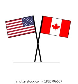 United States of America (USA) and Canada Flags on poles symbolizing relationship partnership and diplomacy.