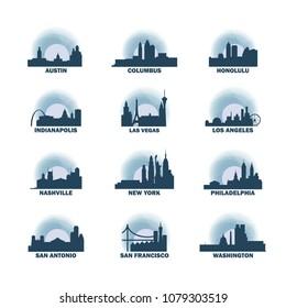 United States of America USA cities icons set, modern skyline citysape landmark logo vector pack