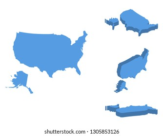 United States of America, USA isometric map vector illustration, country isolated on a white background.