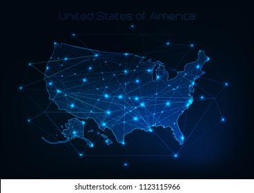 United States of America USA map outline with stars and lines abstract framework. Communication, connection concept.Modern futuristic low polygonal, wireframe, lines dots design. Vector illustration.