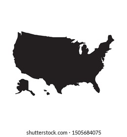 United states of America ( USA ) map vector, isolated on white background.