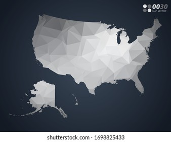 United States of America (USA) map grey polygon red triangle mosaic with dark background. style gradient vector.