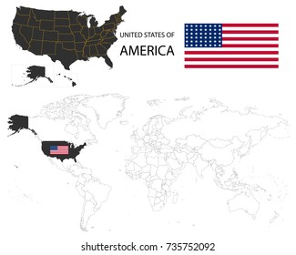 United States of America (USA) map on a world map with flag on white background.