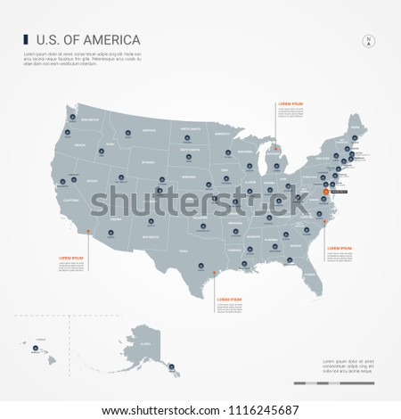 United States America USA Map Borders Stock Vector (Royalty Free ...