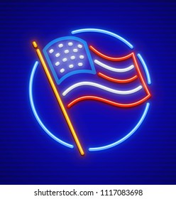 The United States of America USA national flag in circle. Neon icon. EPS10 vector illustration.
