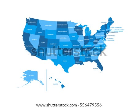 United States America Usa Regions Map Stock Vector Royalty Free