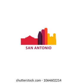 United States of America USA San Antonio city skyline landscape silhouette vector logo icon. Cool urban horizon illustration concept