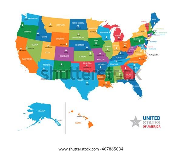 Mapa spojené státy americké Mapa USA