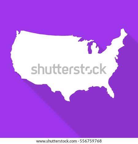 United States America Usa White Map Stock Vector Royalty Free