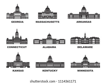United States of America. Vector collection of United States city.  EPS 10. Vector illustration