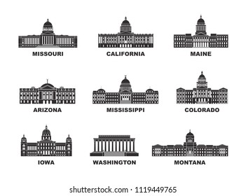 United States of America. Vector collection of United States city