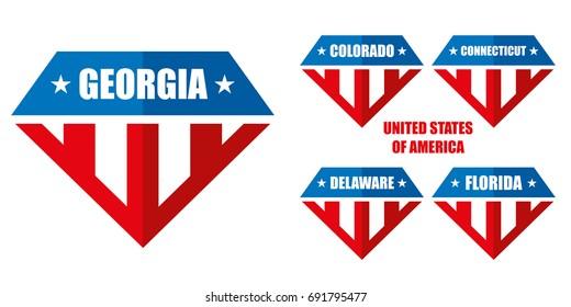United states of America Vector logos Colorado Connecticut Delaware Florida Georgia