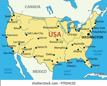 Usa Map Vector With Cities Stock Vectors, Images & Vector Art ...
