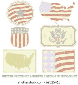United States of America vintage symbol set.All elements (including grunge) easy editable and removable.
