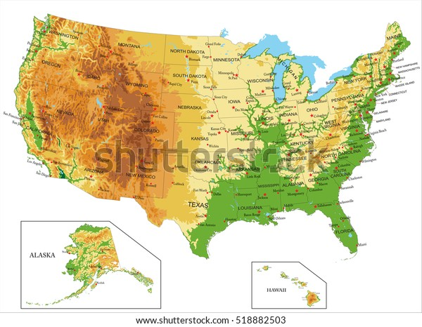 United States Americaphysical Map Stock Vector (Royalty Free ...