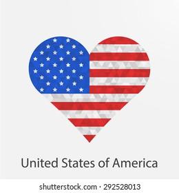 icon american flag form heart vector stock vector royalty free