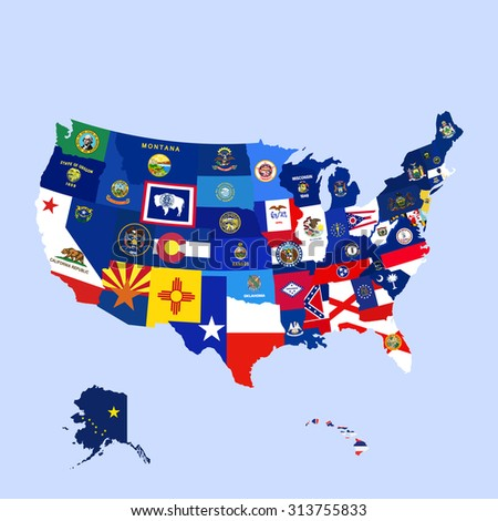 United States America USA Map Flags All Stock Vector (Royalty Free ...