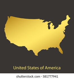 United States of America,USA map,border with golden gradient. Vector illustration