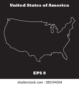 United States of America,USA outline map, stroke. Name of state. Line style. Vector EPS8