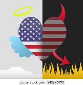 United States background of a heart half demon half angel
