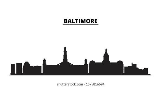 United States, Baltimore City city skyline isolated vector illustration. United States, Baltimore City travel black cityscape