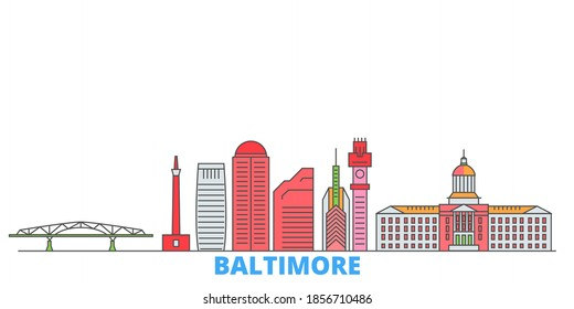 United States, Baltimore line cityscape, flat vector. Travel city landmark, oultine illustration, line world icons