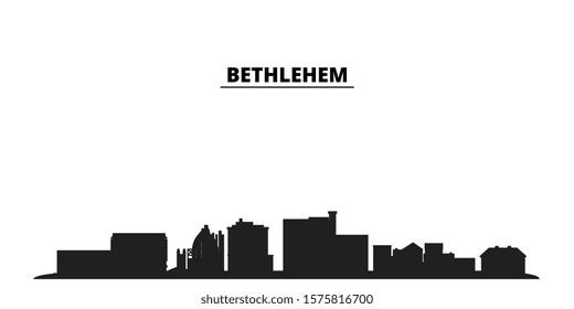 United States, Bethlehem city skyline isolated vector illustration. United States, Bethlehem travel black cityscape