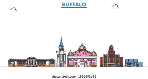 United States, Buffalo line cityscape, flat vector. Travel city landmark, oultine illustration, line world icons