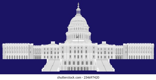 United States Capital Hill - Detailed Vector illustration