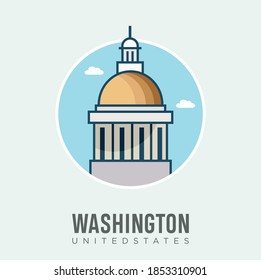 United States Capitol Building Icon Washington Design Vector Stock Illustration. United States Travel and Attraction , Landmarks And Tourism