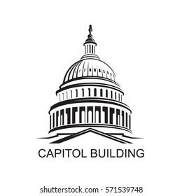 United States Capitol building icon in Washington DC. Vector illustration