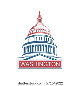United States Capitol building icon in Washington DC. Vector illustration