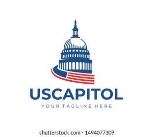 United States Capitol Building logo design. Capitol Hill Washington DC vector design. United States of America Architecture logotype