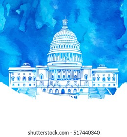 United States Capitol Building vector illustration on blue watercolor background
