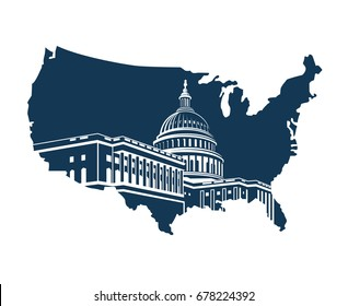 United States Capitol building in Washington DC on background of the map