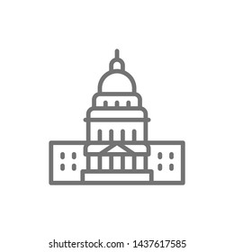 United States Capitol, famous American buildings line icon.