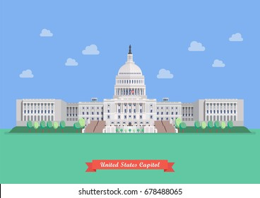 United States capitol in flat style design. vector illustration